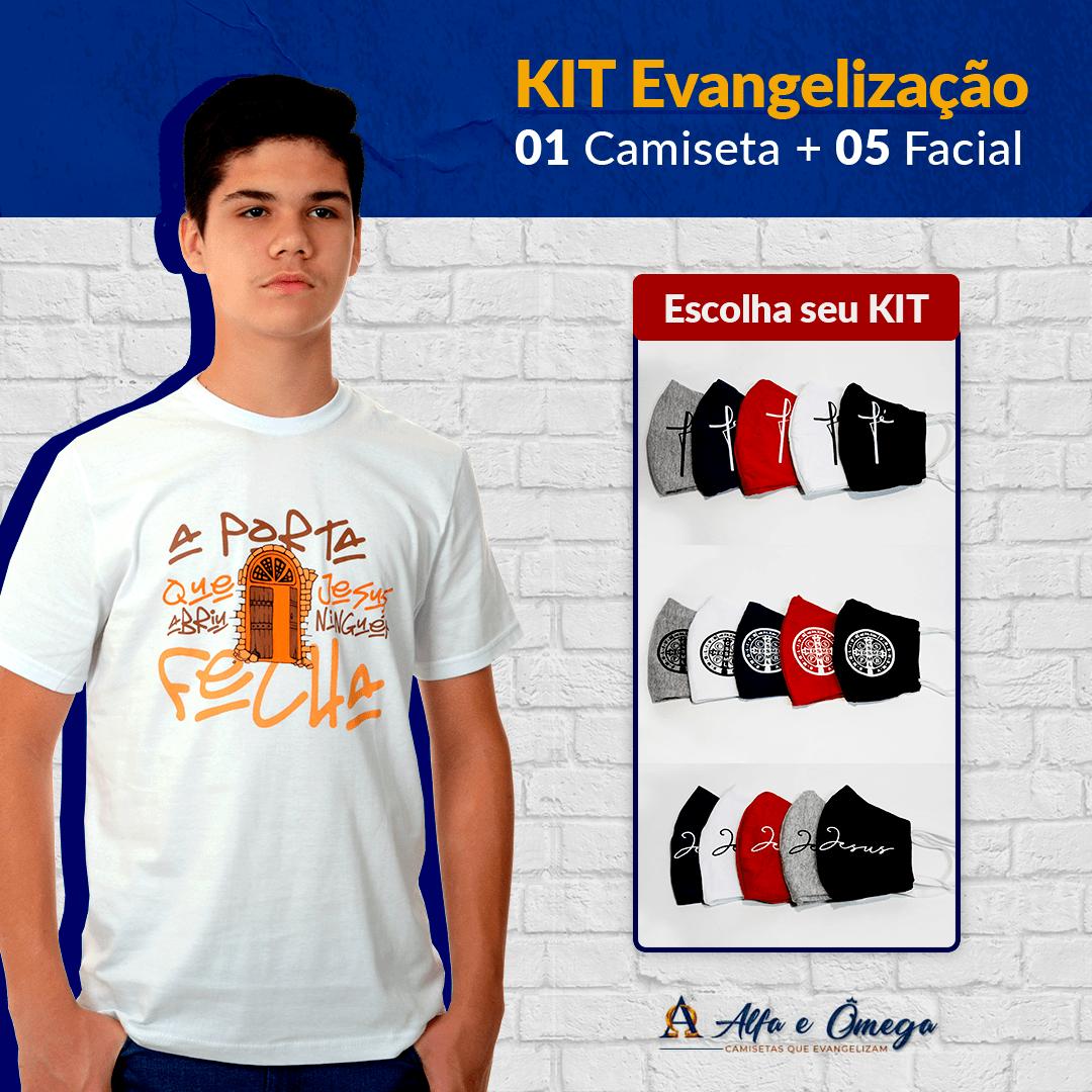 "KIT'S 1 CAMISETAS ""A PORTA QUE JESUS ABRE NIGUÉM FECHA"" + KIT 5 PEÇAS"