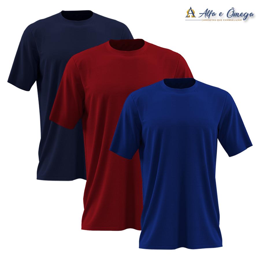 Kits 3 camisetas lisas - VERMELHA-AZUL ROYAL-PRETA