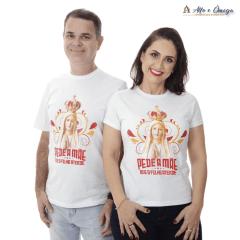 Camisetas Cristãs Nossa Senhora - PEDE A MÃE - Branca
