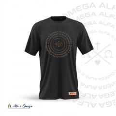 Camiseta Cristã  - Alfa e Omega Estampa em Gel