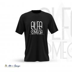 Camiseta Cristã -  Alfa e Ômega Preta modelo Slim