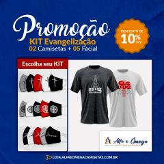 """Kit Evangelização 2 Camisetas """"Maria e Ele Vive"""" +5 Facial"""