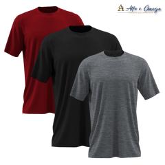 Kits 3 camisetas lisas - PRETA - VERMELHA - MESCLA