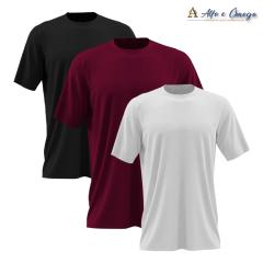 Kits 3 camisetas lisas - PRETA - VINHO - BRANCA